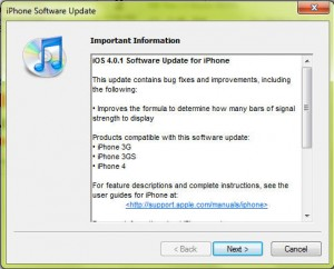 iOS 4.0.1 upgrade screen